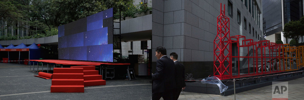 In this combination of photos, left: Red carpeted steps lead up to a stage with screens displaying an image of the universe, in Hong Kong, Thursday, June 22, 2017; and right: A red sculpture is displayed outside the Bank of China headquarters in Hong Kong to celebrate the anniversary of Hong Kong handover to China, Friday, June 23, 2017.(AP Photo/Kin Cheung)