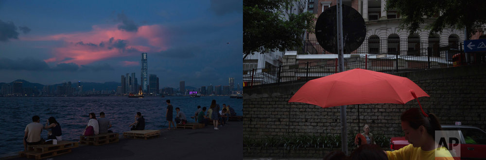 In this combination of photos, left: Residents look at the sunset glow over Victoria Harbor in Hong Kong, Sunday, June 11, 2017; and right: A woman carries a red umbrella past Sun Yat-sen Museum, which was built in the colonial style, Saturday, May 20, 2017. (AP Photo/Kin Cheung)