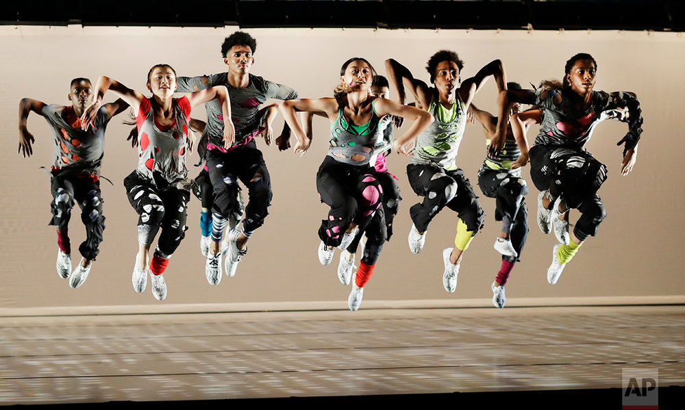 "In this Thursday, June 8, 2017 photo, high school students at Ballet Tech rehearse ""The Jig Is Up,"" at the Joyce Theater in New York. (AP Photo/Mark Lennihan)"