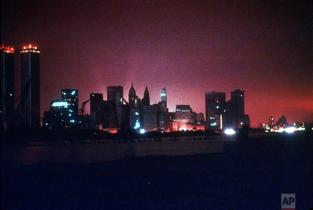 The New York City skyline is shown during the blackout of July 13, 1977. (AP Photo)