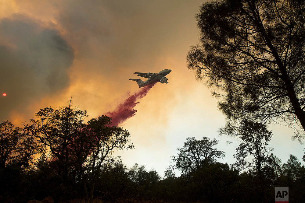 A plane drops retardant while battling a wildfire near Oroville, Calif., on Saturday, July 8, 2017. The fast-moving wildfire in the Sierra Nevada foothills destroyed structures, including homes, and led to several minor injuries, fire officials said Saturday as blazes threatened homes around California during a heat wave. (AP Photo/Noah Berger)