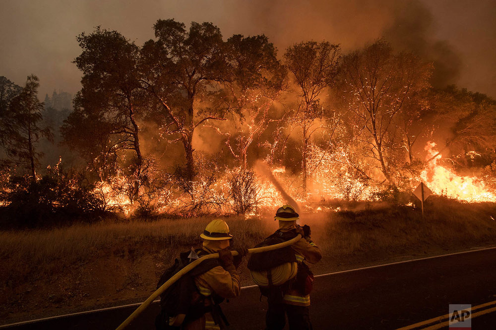 Firefighters battle a wildfire as it threatens to jump a road near Oroville, Calif., on Saturday, July 8, 2017. Evening winds drove the fire through several neighborhoods leveling homes in its path. (AP Photo/Noah Berger)