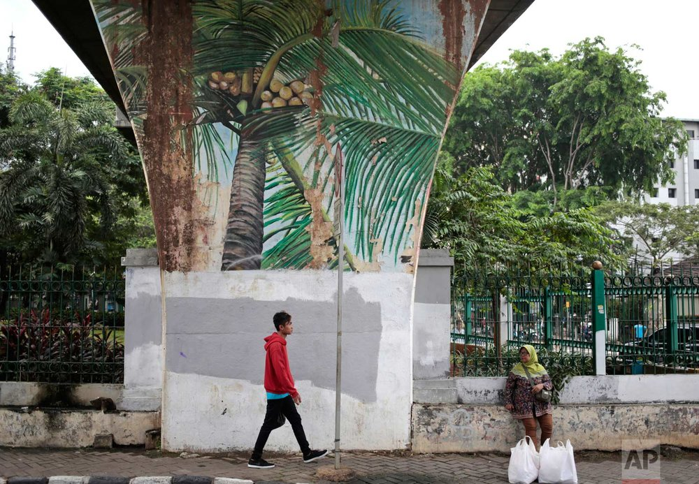 In this Wednesday, Oct. 12, 2016 photo, a man walks past a mural depicting coconut trees in Jakarta, Indonesia. One of the strange sights in Indonesia, an ecologically rich archipelago of more than 13,000 islands, is its capital's fondness for fake greenery at a time when the country is known for cutting down its precious tropical forests at a record rate. (AP Photo/Dita Alangkara)
