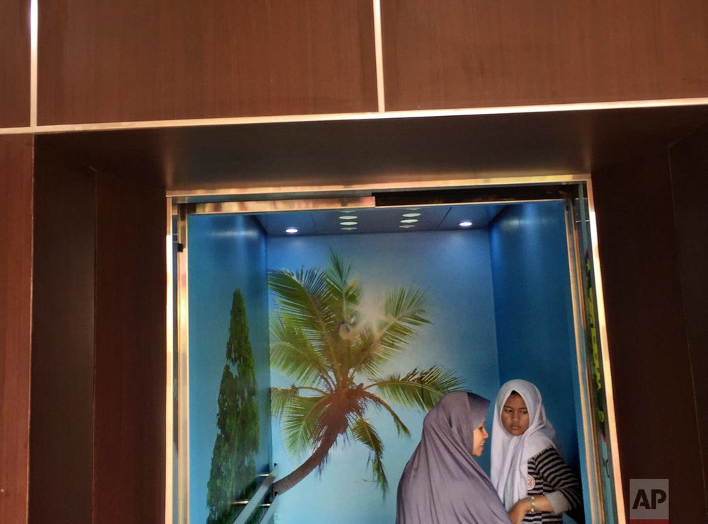 In this Friday, March 3, 2017 photo, Muslim women stand inside an elevator decorated with tree wallpapers at a hospital in Jakarta, Indonesia. One of the strange sights in Indonesia, an ecologically rich archipelago of more than 13,000 islands, is its capital's fondness for fake greenery at a time when the country is known for cutting down its precious tropical forests at a record rate. (AP Photo/Dita Alangkara)