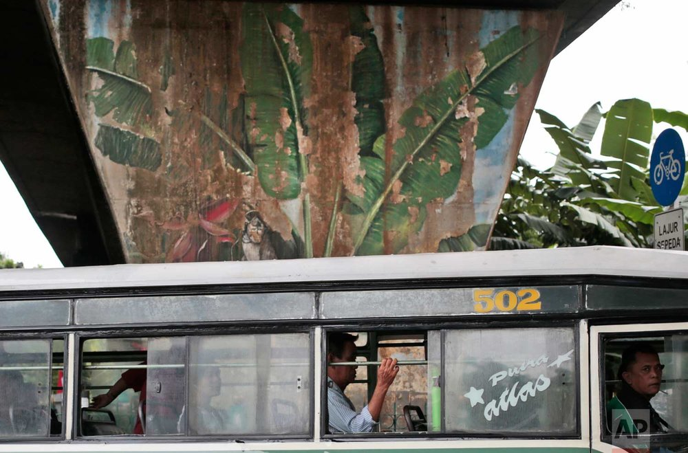 In this Wednesday, Oct. 12, 2016 photo, passengers sit inside a city bus as it drives past a mural depicting coconut trees in Jakarta, Indonesia. One of the strange sights in Indonesia, an ecologically rich archipelago of more than 13,000 islands, is its capital's fondness for fake greenery at a time when the country is known for cutting down its precious tropical forests at a record rate. (AP Photo/Dita Alangkara)