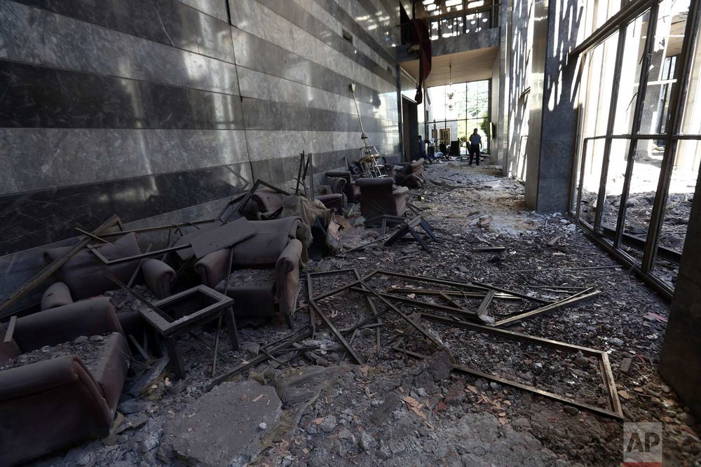 The aftermath of the damage to Parliament. (AP Photo/Burhan Ozbilici)