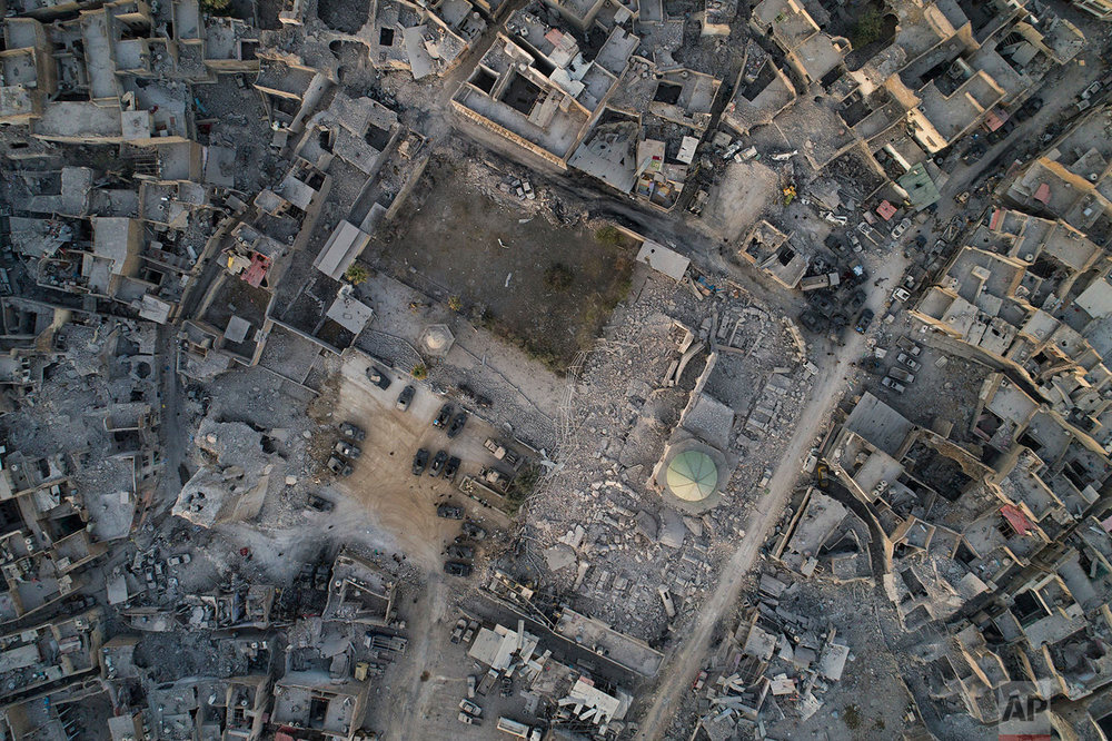 In this July 4, 2017 photo, aerial view of the heavily damaged al-Nuri mosque in the Old City of Mosul, Iraq. (AP Photo/Felipe Dana)