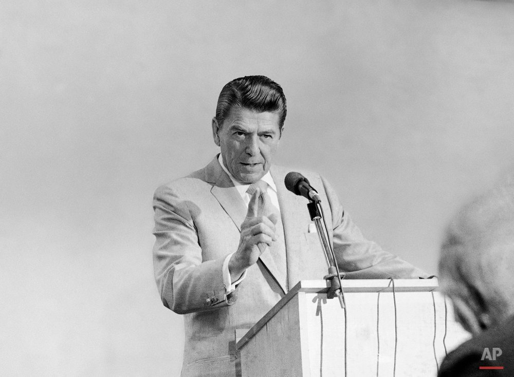 Republican presidential candidate Ronald Reagan, brought his campaign to Daytona Beach, Florida on Saturday, Feb. 7, 1976, and made a point a she answered a question by a newsman before he spoke at the Florida Jaycees Winter Conference on Saturday. (AP Photo)