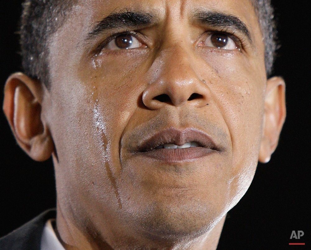 Democratic presidential candidate, Sen. Barack Obama, D-Ill., sheds tears as he talks about his grandmother, Madelyn Payne Dunham, at a rally in Charlotte, N.C., Monday, Nov. 3, 2008. Obama's grandmother, who helped raise him, died peaceably in her sleep Obama announced Monday, one day before the presidential election. She was 86. (AP Photo/Alex Brandon)