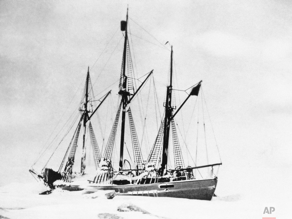 This 1923 photo shows the schooner Maud, frozen during winter at Aton Island off Siberia, with which Capt. Roald Amundsen made an attempt to reach the North Pole in 1924. In 1903, Amundsen and six other men set out in a tiny ship, the Gjoa. Sailing from east to west, they drew on the expertise of indigenous Inuit people to brave the dangerous conditions and reached Alaska in 1906. (AP Photo)