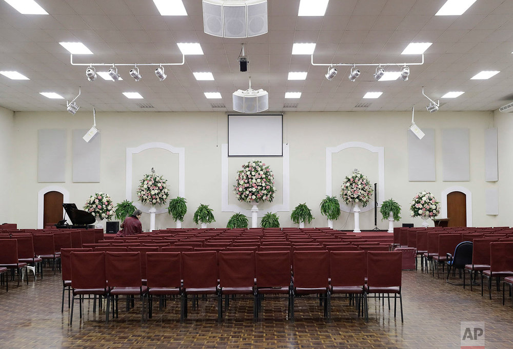 This Sunday, May 28, 2017 photo shows the interior of the Rhema community church, in Franco da Rocha, in the greater Sao Paulo area, Brazil. (AP Photo/Andre Penner)