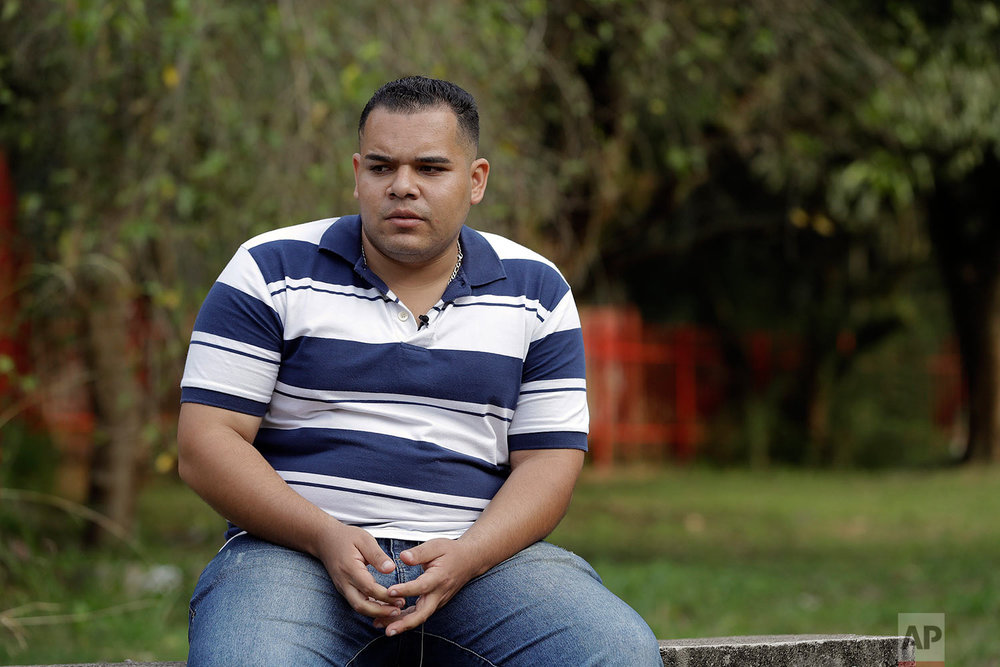 In this Sunday, May 28, 2017 photo, Calebe Correa de Souza, a former member of the Rhema Community Evangelical Ministry, speaks during an interview in Franco da Rocha, Brazil, in the greater Sao Paulo area. His father, Flavio Correa said Calebe, his oldest son, was slapped so many times during a blasting session by pastors at the Word of Faith Fellowship's Franco da Rocha church that he suffered several cuts on his face. (AP Photo/Andre Penner)