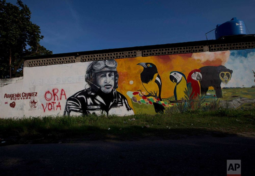 In this Nov. 23, 2015 photo, a mural with the image of Venezuela's late President Hugo Chavez shares space with a political ad that urges voters to vote for his cousin, congressional candidate Argenis Chavez, in Barinas, Venezuela. (AP Photo/Fernando Llano)