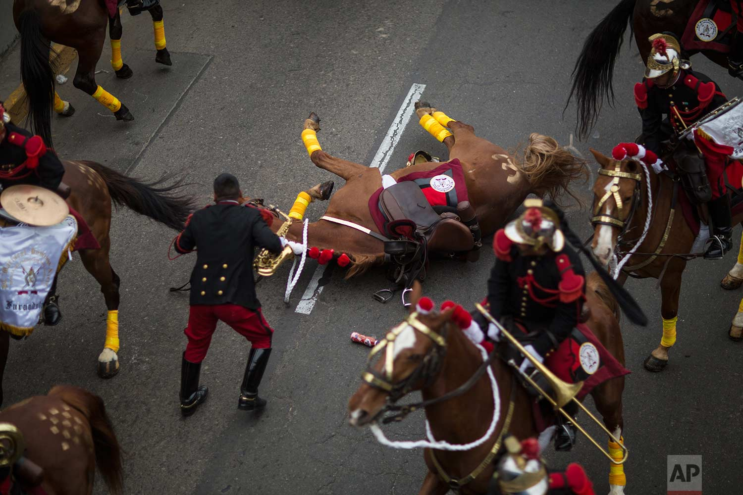 A member of the traditional cavalry regiment known as the Husares de Junin tends to his horse who inexplicably fell during a military parade that was part of the Independence Day celebrations, in Lima, Peru, Saturday, July 29, 2017. (AP Photo/Rodrigo Abd)