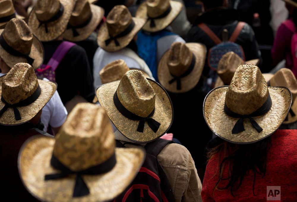 Farmers donning Mexican straw hats take part in a march protesting the North American Free Trade Agreement, in Mexico City, Wednesday, July 26, 2017. (AP Photo/Rebecca Blackwell)
