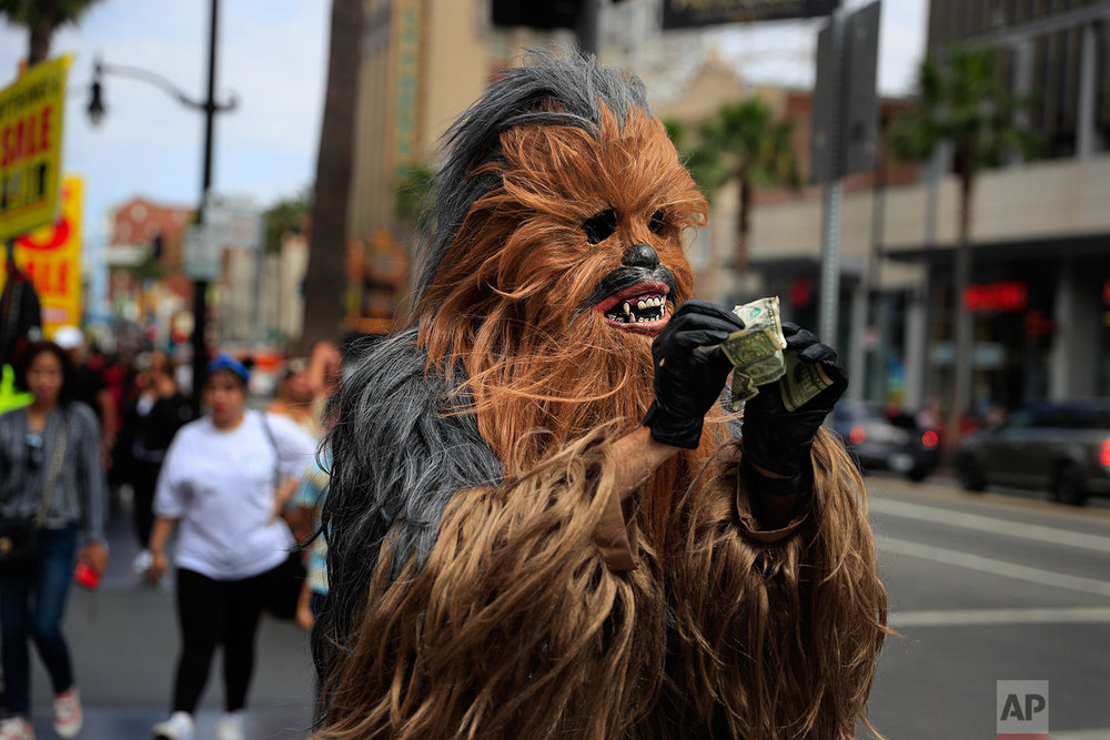 In this Thursday, May 25, 2017 photo, Donte, a musician who only gave his first name, straightens out dollar bills on his first day in a brand new Chewbacca costume purchased from eBay for $441, in the Hollywood section of Los Angeles. Donte said he replaced the old one because he wasn't making any money with it. (AP Photo/Jae C. Hong)