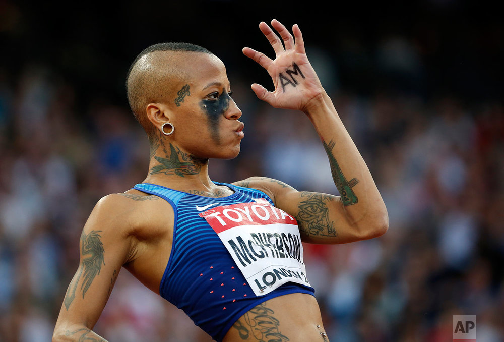 United States' Inika McPherson prepares an attempt during the women's high jump final at the World Athletics Championships in London Saturday, Aug. 12, 2017. (AP Photo/Matthias Schrader)