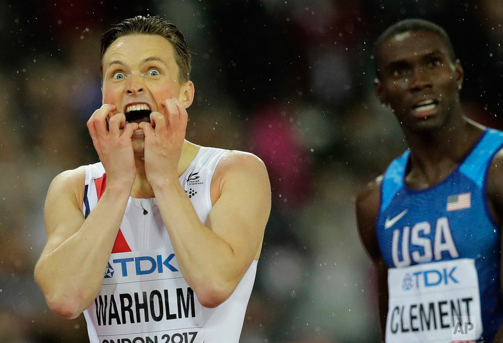 Norway's Karsten Warholm reacts at the finish line after wining the men's 400 meters hurdles final at the World Athletics Championships in London Wednesday, Aug. 9, 2017. (AP Photo/Tim Ireland)