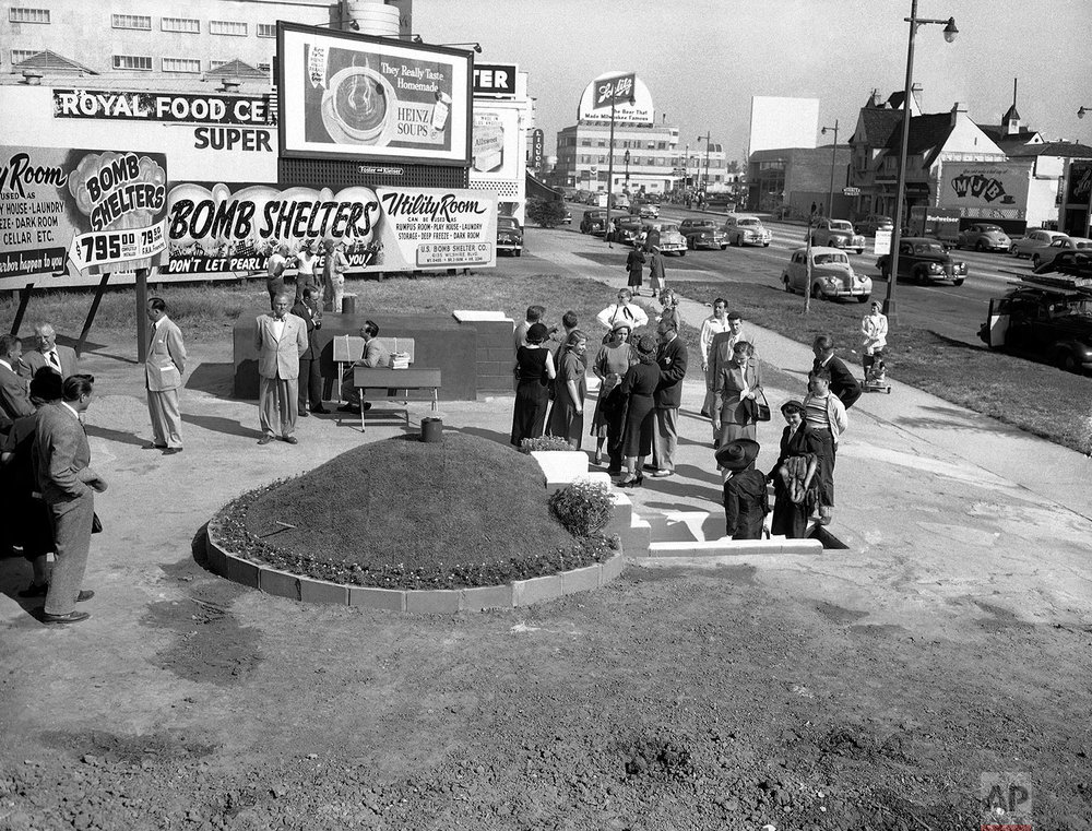 In this March 23, 1951 file photo, two styles of bomb shelters are shown for sale at Bomb Shelter Mart in Los Angeles.  (AP Photo/Don Brinn)