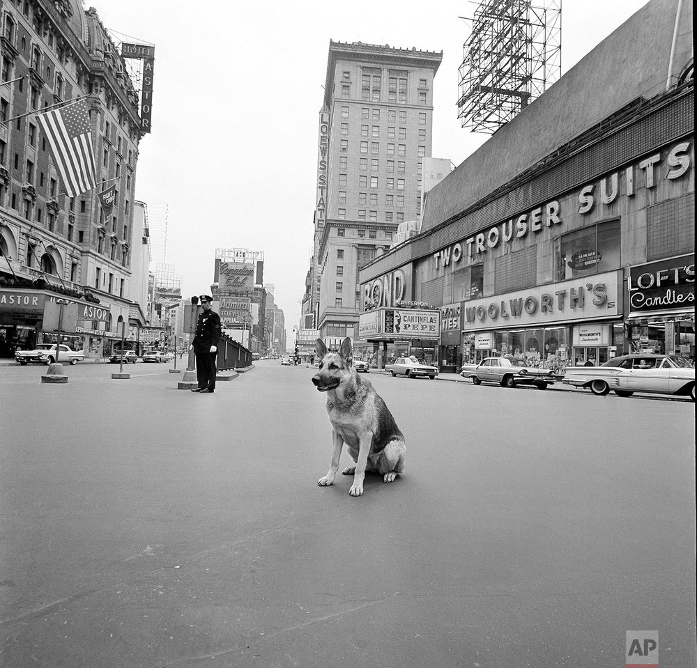 In this April 28, 1961 photo, a dog sits near a police officer in the middle of an empty Times Square during a 10-minute civil defense test air raid alert in New York. For some baby boomers, North Korea's nuclear advances and the Trump administration's bellicose response have prompted flashbacks to a time when they were young, and when they prayed each night that they might awaken the next morning. For their children, the North Korean crisis was a taste of what the Cold War was like. (AP Photo/Bob Goldberg)