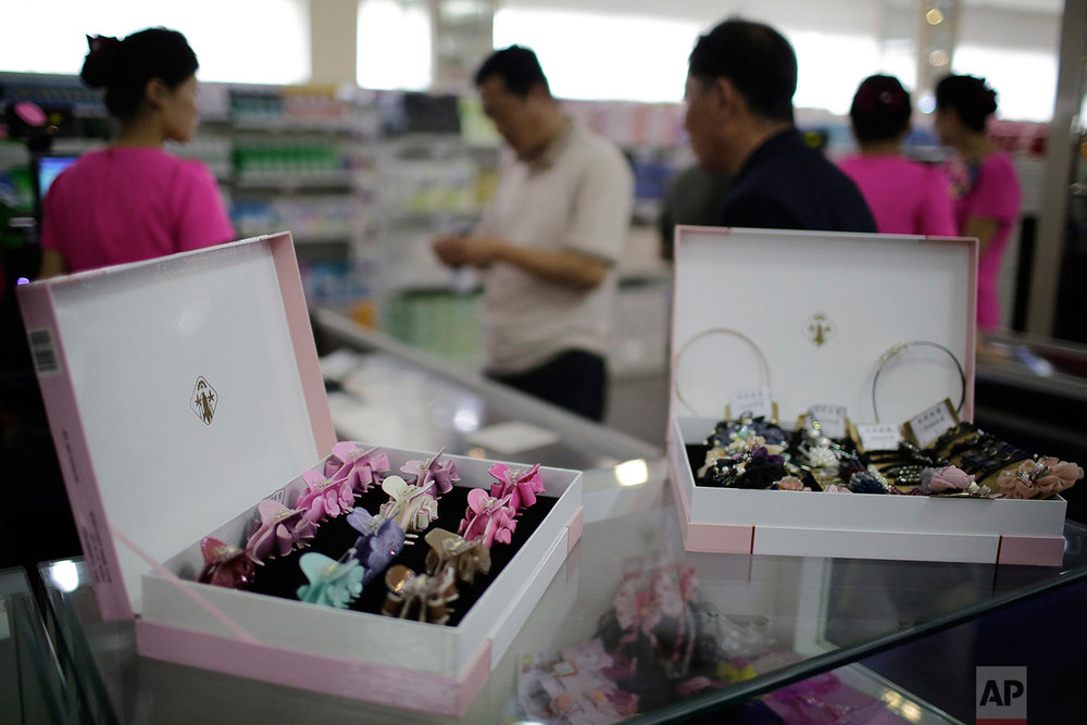 In this Monday, June 19, 2017, photo, hair accessories are sold on the second level of the Potonggang department store in Pyongyang, North Korea.  (AP Photo/Wong Maye-E)