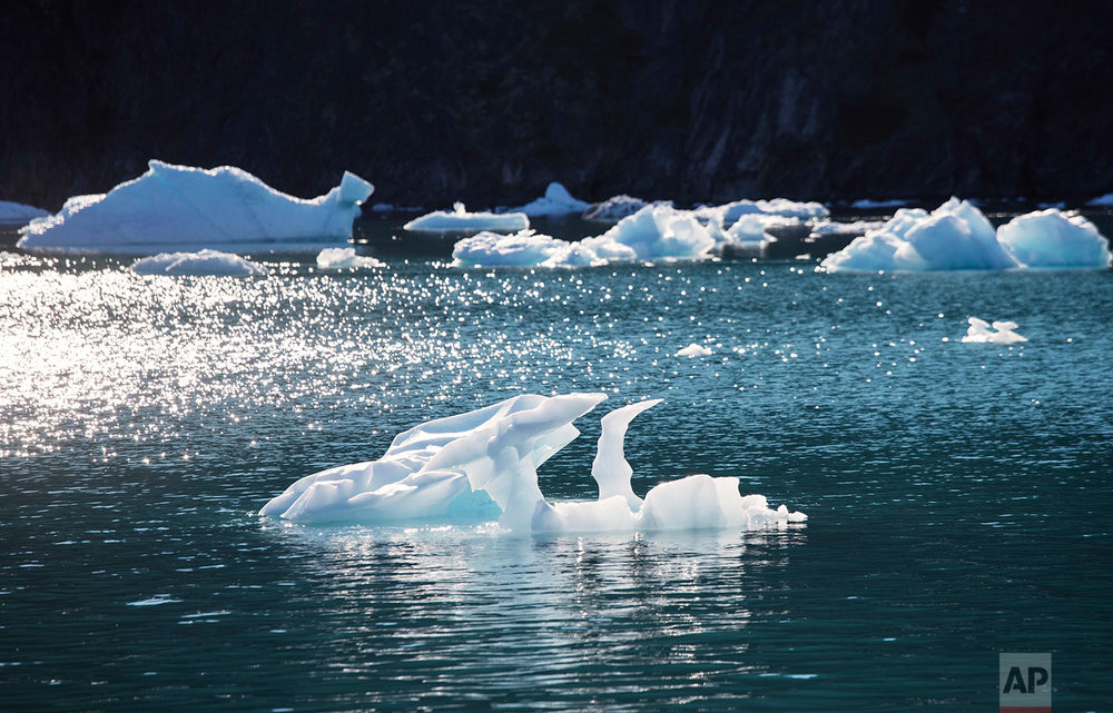 An iceberg floats in the Nuup Kangerlua Fjord near Nuuk in southwestern Greenland, Tuesday, Aug. 1, 2017. (AP Photo/David Goldman)