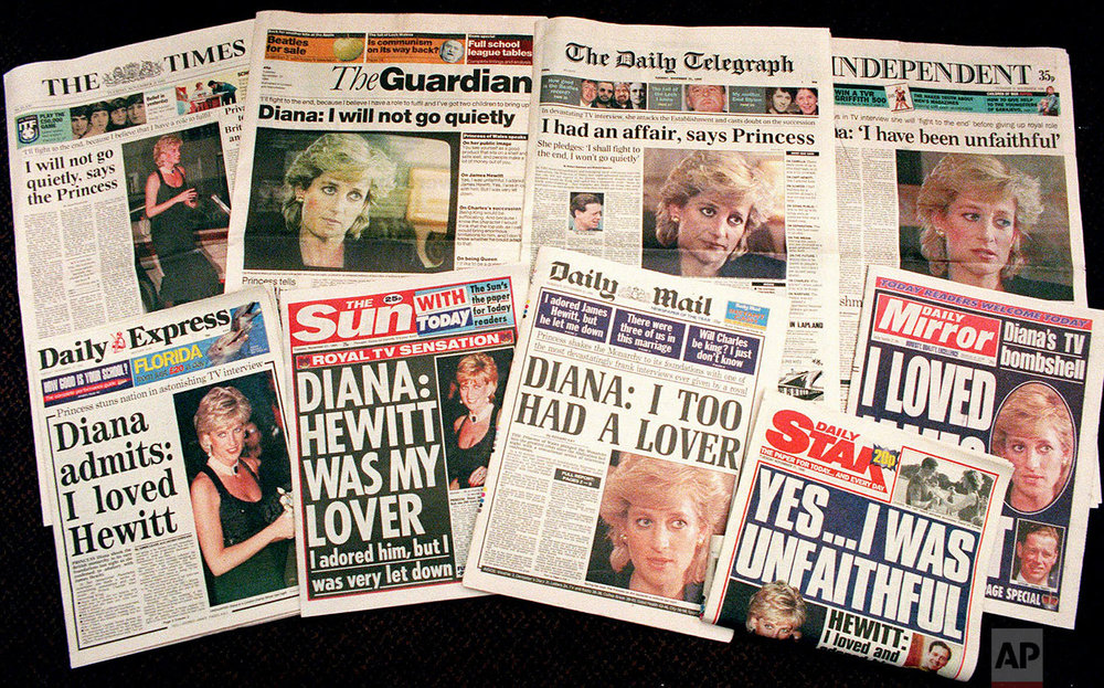 Newspapers after Princess Diana's TV interview in 1995
