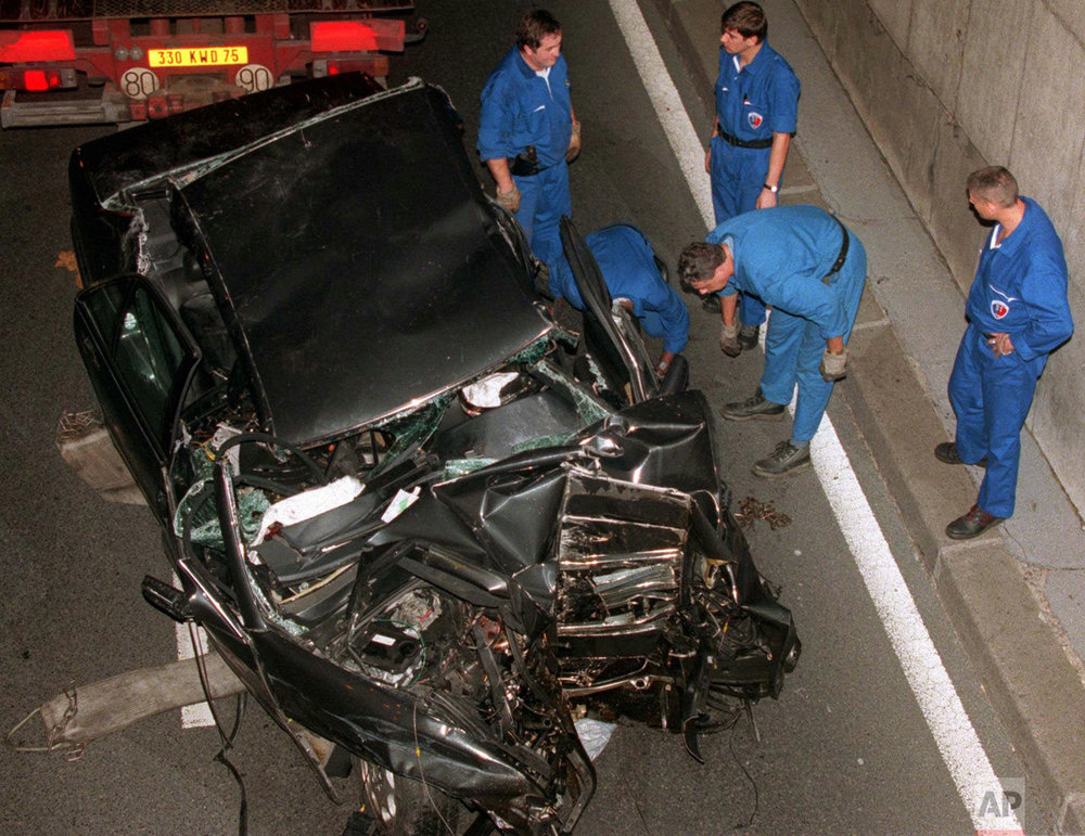 Car crash scene after Princess Diana's death in 1997