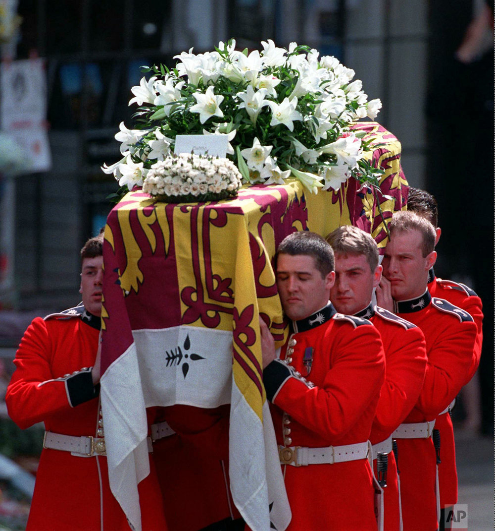 Princess Diana's casket after her funeral in 1997
