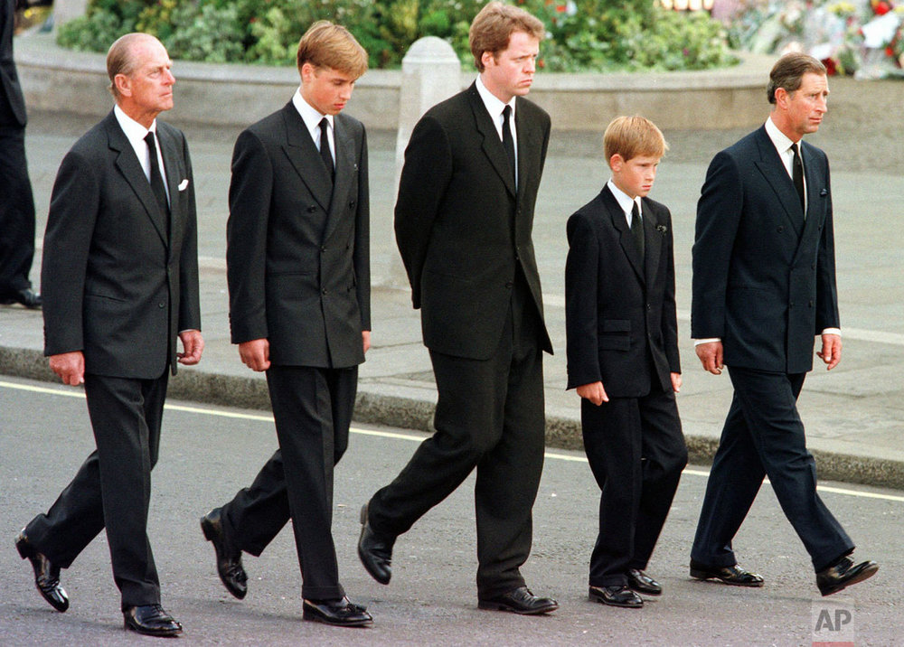 Members of the royal family during the funeral of Princess Diana in 1997