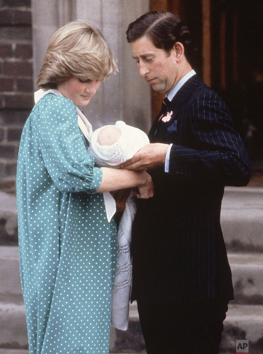 Prince Charles and Princess Diana with newborn son Prince William in 1982