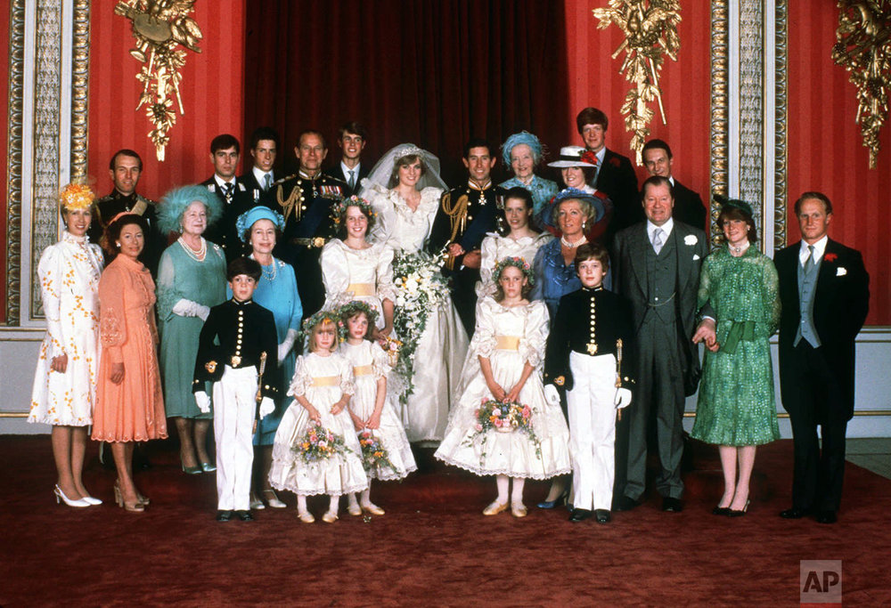 Family portrait on wedding day in 1981