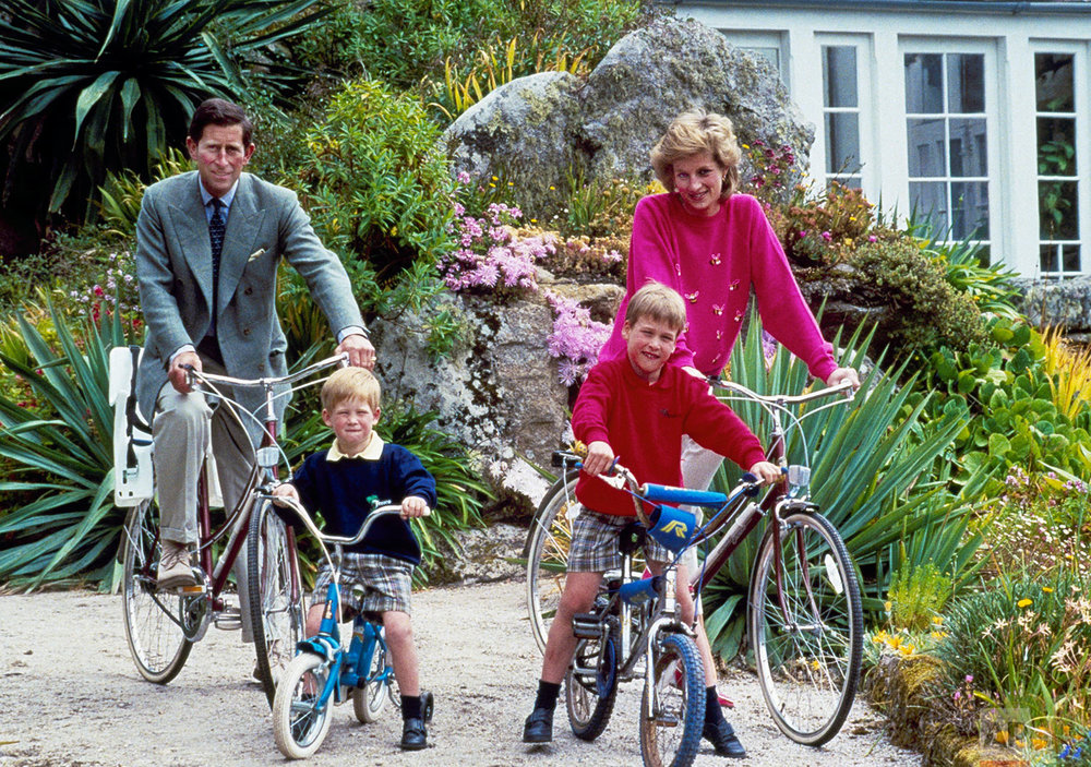 Britain's Prince Charles and Princess Diana and their sons, Princes William, and Harry in 1989