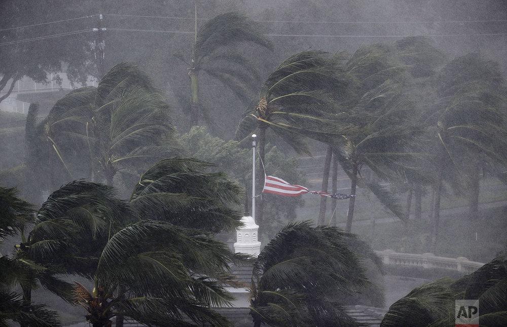 An American flag is torn as Hurricane Irma passes through Naples, Fla., Sunday, Sept. 10, 2017. (AP Photo/David Goldman)