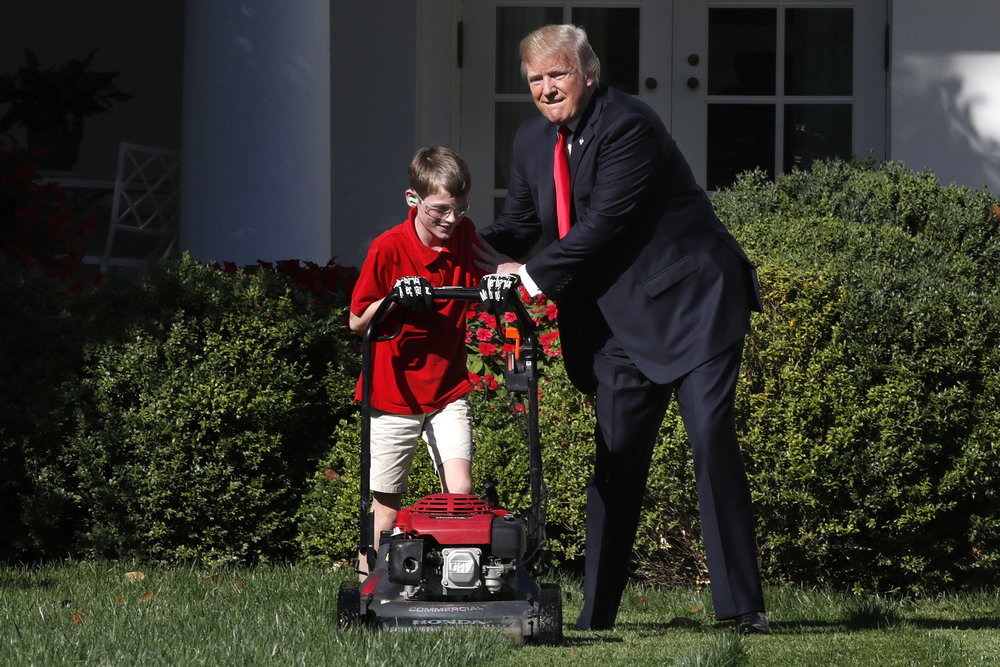 Trump Lawn Mowing Boy