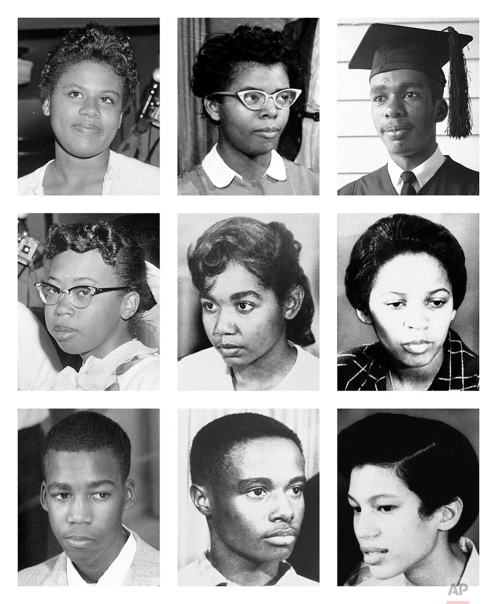 This combination of photo shows the nine black teenagers who had to be escorted by federal troops past an angry white mob and through the doors of Central High School in Little Rock, Arkansas, on Sept. 25, 1957. Top row from left are Minnie Brown, Elizabeth Eckford and Ernest Green; middle row, Thelma Mothershed, Melba Pattillo and Gloria Ray; bottom row, Terrence Roberts, Jefferson Thomas and Carlotta Walls. (AP Photos)
