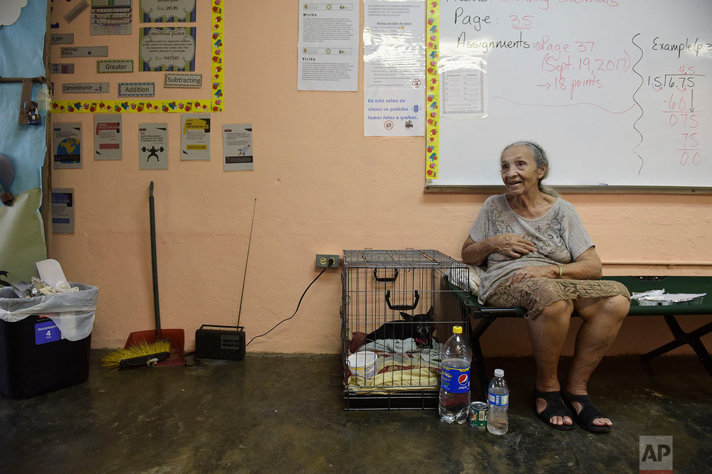 Evacuee Guillermina Reyes, 90, sits with with her pet dog Blackie at the Juan Ponce de Leon Elementary School before the arrival of Hurricane Maria, in Humacao, Puerto Rico, Tuesday, Sept. 19, 2017. (AP Photo/Carlos Giusti)