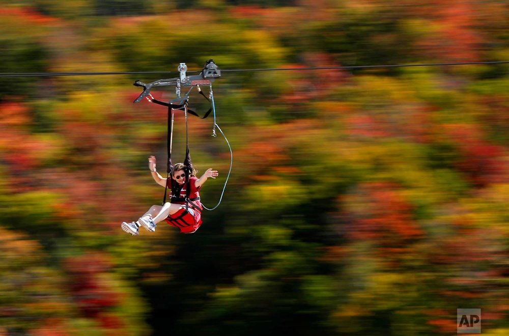 Katie McWalter of Southborough, Mass., sails by the fall foliage while riding the ZipRider at Wildcat Mountain, Saturday, Sept. 23, 2017, in Pinkham Notch, N.H. The first weekend of autumn is unusually warm with temperatures climbing into the upper 80s. (AP Photo/Robert F. Bukaty)