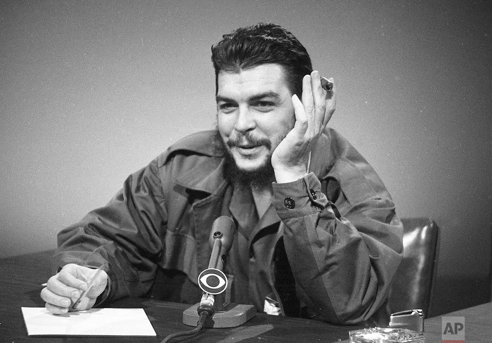 "In this Dec. 13, 1964 photo, Cuba's Ernesto ""Che"" Guevara makes an appearance on ""Face the Nation"" at CBS-TV studios in New York. (AP Photo)"