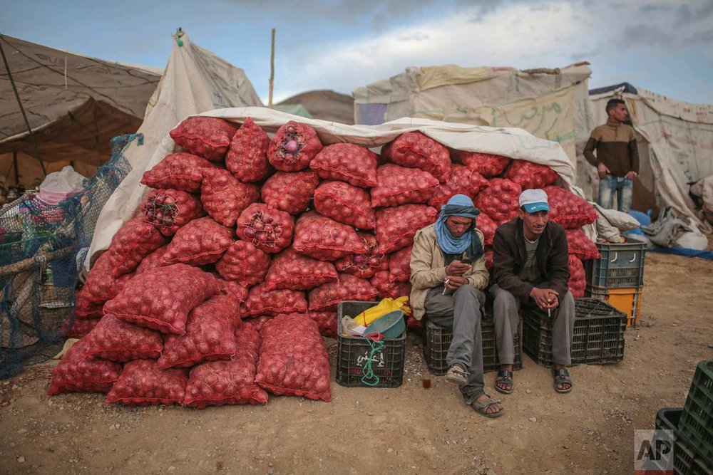 In this Friday, Sept. 22, 2017 photo, onion sellers wait for customers at the annual festival of Imilchil, a small village in the Morocco's Atlas mountains. (AP Photo/Mosa'ab Elshamy)
