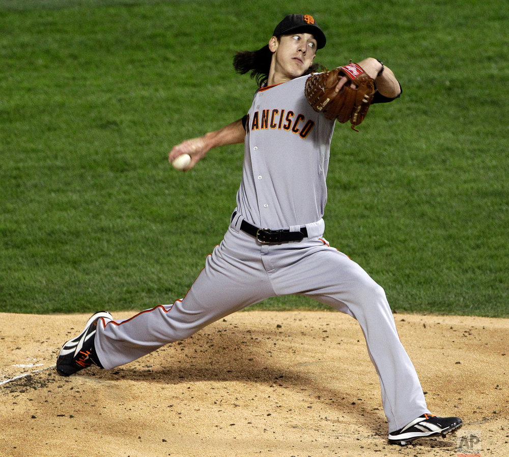 San Francisco Giants' Tim Lincecum throws during the first inning of Game 5 of baseball's World Series against the Texas Rangers Monday, Nov. 1, 2010, in Arlington, Texas. (AP Photo/Tony Gutierrez)