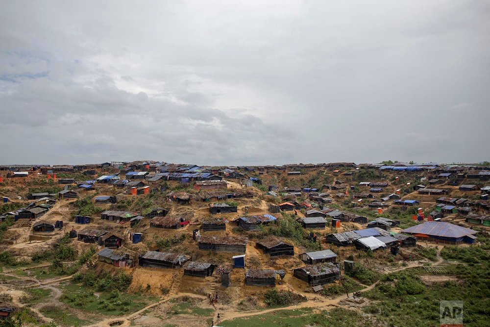 A newly-setup refugee camp for Rohingya Muslims, who crossed over from Myanmar into Bangladesh, is seen in an aerial view in Thaingkhali, Bangladesh, on Thursday, Oct. 19, 2017. (AP Photo/Dar Yasin)