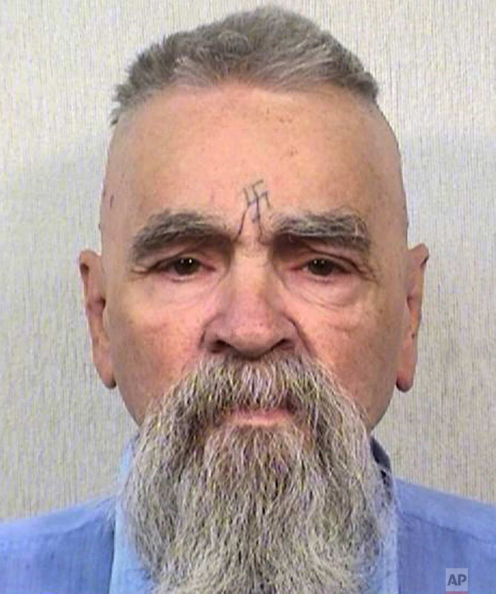 This Oct. 8, 2014 photo provided by the California Department of Corrections and Rehabilitation shows serial killer Charles Manson.(California Department of Corrections and Rehabilitation via AP)