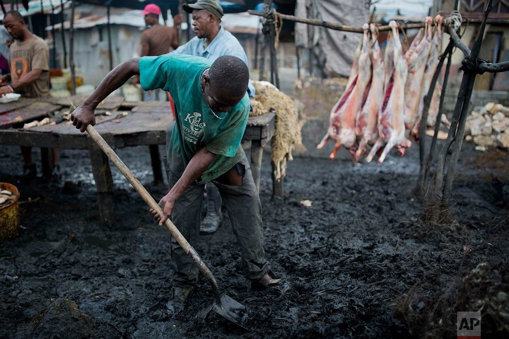 In this Nov. 9, 2017 photo, Lifene Dorilas 27, shovels mud and waste at the La Saline slaughterhouse in Port-au-Prince, Haiti. Dorilas has worked at the market for 15 years. His main job is to remove hair from goat heads and hooves. He is paid 40 U.S. cents per goat. (AP Photo/Dieu Nalio Chery)