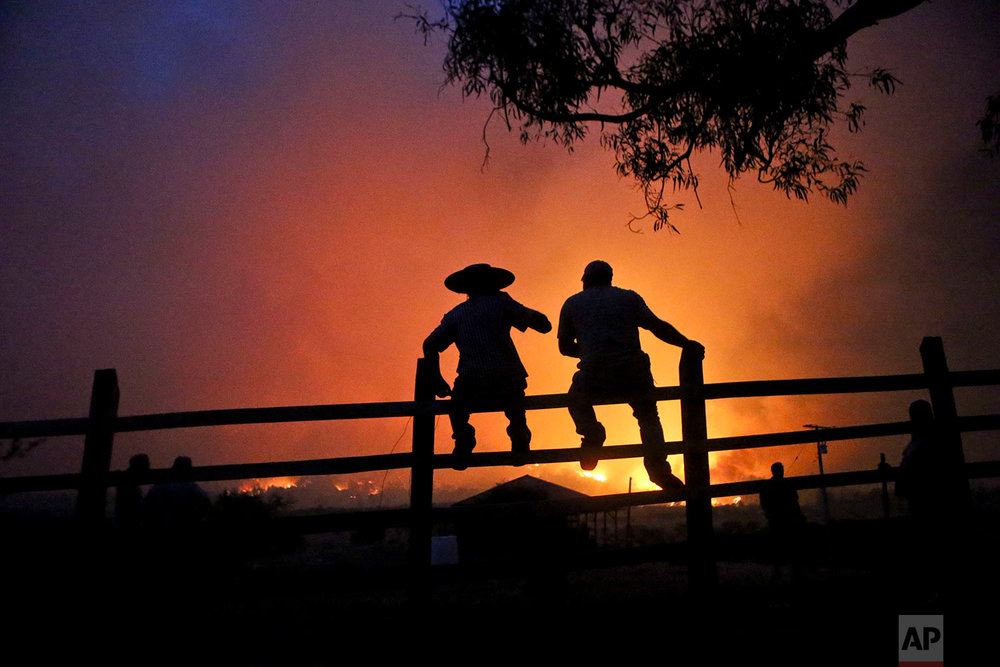 Residents watch the forest burn in Portezuelo, Chile, Sunday, Jan. 29, 2017.  The fires were one of the country's biggest natural disasters in decades, according to a government report. (AP Photo/Esteban Felix)