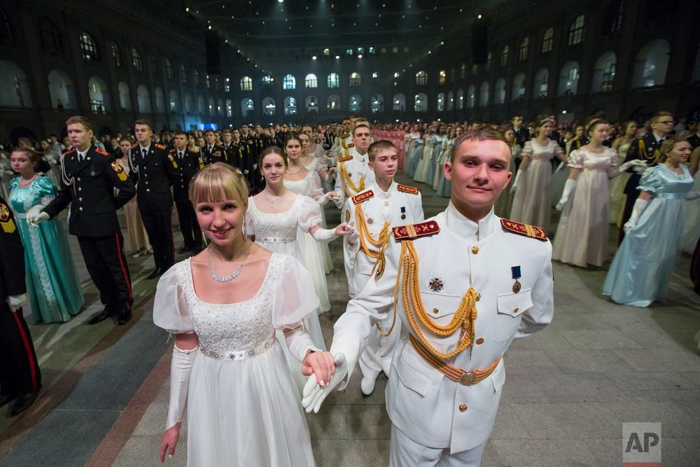 Military school students stand ready to dance during their annual ball in Moscow, Russia, Tuesday, Dec. 12, 2017.  (AP Photo/Alexander Zemlianichenko)