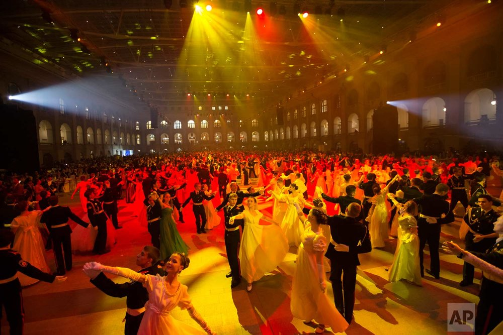 Military school students dance during their annual ball in Moscow, Russia, Tuesday, Dec. 12, 2017. AP Photo/Alexander Zemlianichenko)