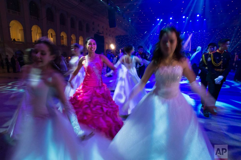 Military school students rehearse before their annual ball in Moscow, Russia, Tuesday, Dec. 12, 2017. (AP Photo/Alexander Zemlianichenko)