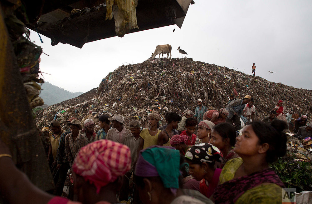 Indian ragpickers wait to collect recyclable materials as a truck prepares to unload garbage at a garbage dumping site on the outskirts of Gauhati, Assam state, India, Monday, June 5, 2017. Monday marks World Environment Day. (AP Photo/Anupam Nath)