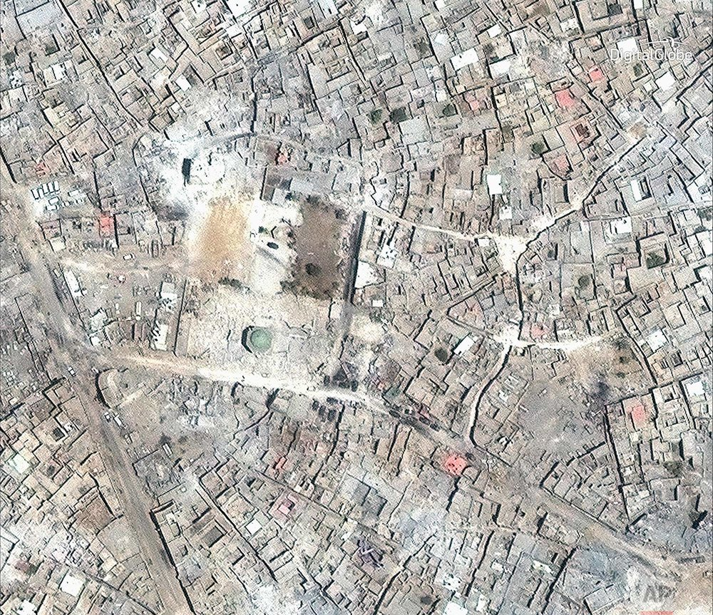 This satellite image released by DigitalGlobe shows what remains of the al-Nuri Mosque in Mosul, Iraq on July 8, 2017. (DigitalGlobe via AP)